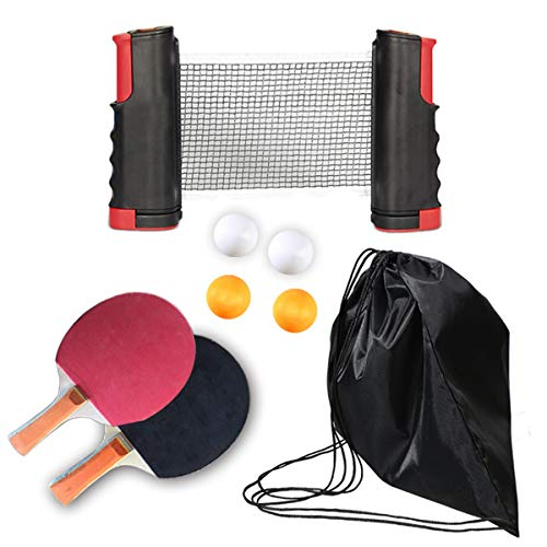 Great Price! Yfymk-us Portable Table Tennis Net witn 2 Paddles and 4Balls Includes Convenient Portab...