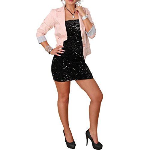 Candygirls Candygirls B101 Blazer 3/4 Streifen Ärmel Jacke Business Büro Jäckchen Party Freizeit (M/38, Lachs)