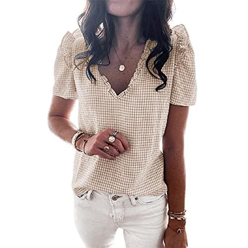 Sommermode Damen V-Ausschnitt GekräUselt Kariertes KurzäRmeliges T-Shirt Top-Shirt