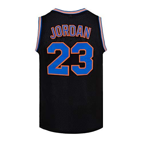 Mens #23 Space Jam Jersey Movie Basketball Jersey S-XXXL (Black, Medium)
