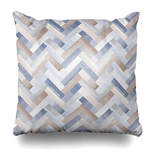 AlineAline Funda de almohada de mármol azul patrón piedra incrustaciones marrón suelo geométrico gradiente gris espiga cremallera 45,7 x 45,7 cm