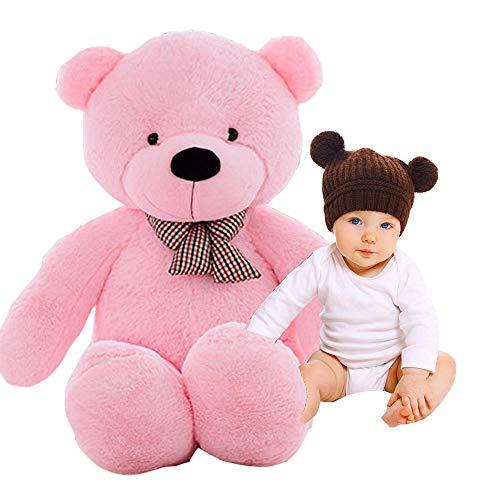 EXQUILEG Niedliches und Realistisches Kuscheltier Teddy-Bär Spielgefährte für Kinder (Rosa, 80cm)