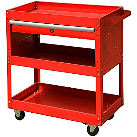 IntBuying 3 Trayers Rolling Tool Cart Shelves Workshop Garage Tool with Wheels