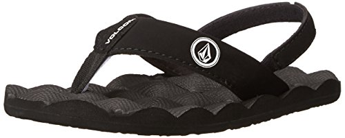 Volcom Girls Recliner Flip Flop Heel Strap Sandal, Black/White, 13 Little Kid