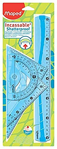 Maped - Kit di tracciatura indistruttibile, 4 pezzi, composto da 1 righello da 30 cm, 1 squadra da 60 °/21 cm, 1 squadra da 45°/21 cm e 1 goniometro da 180°/12 cm, blu