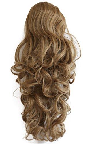 PRETTYSHOP 45cm Haarteil Zopf Pferdeschwanz Haarverlängerung Voluminös Gewellt Dunkelblond PH24