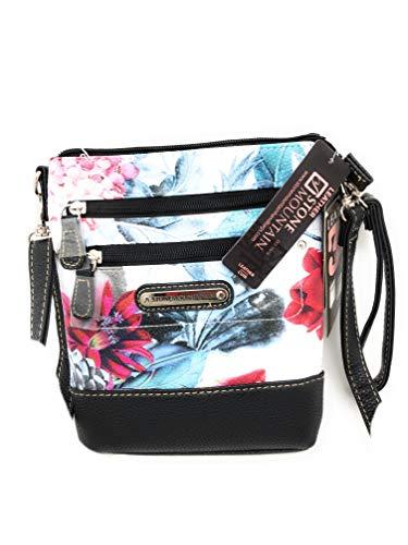 Stone Mountain White Floral Leather HOBO Handbag
