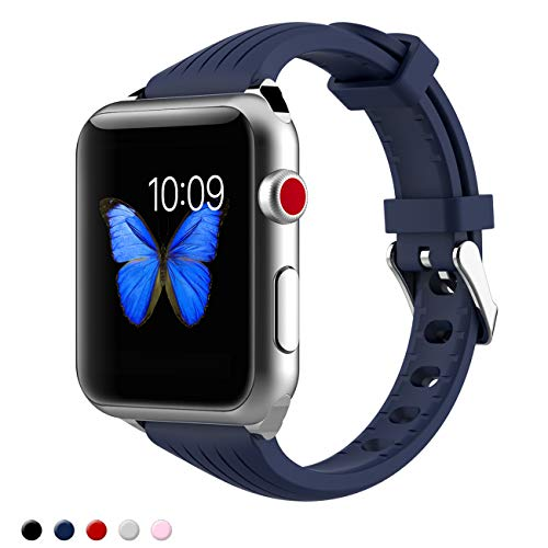 Kppto Für Apple Watch Armband 40/42mm, ultra-dünnes Silikon Apple Watch Armband Ersatz Sportarmband für iWatch Serie 4 3 2 1 S/M M/L Größe 40 / 42mm