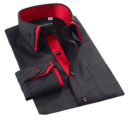 Lyon Becker Mens Italian Shirts Double Collar Slim Fit Casual Button Down Shirt (BLACK/RED-DC07 M)…