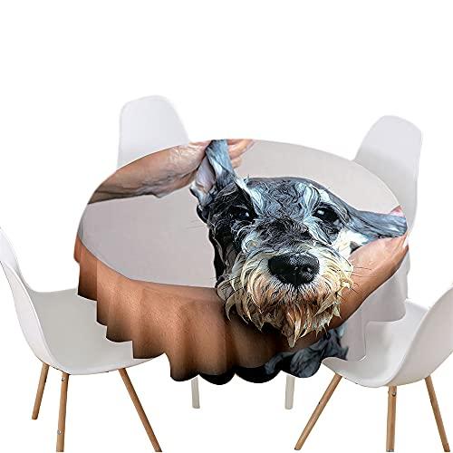 Highdi Impermeable Mantel de Redondo, Antimanchas Lavable Manteles Moderno Decoración para Salón, Cocina, Comedor, Mesa, Interior y Exterior (Diameter 90cm,Yorkshire Terrier)