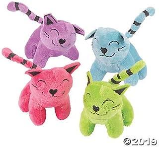 Colorful Stuffed Cat Assortment (12 pack) Bulk Plush Animal Toys in Bright Colors