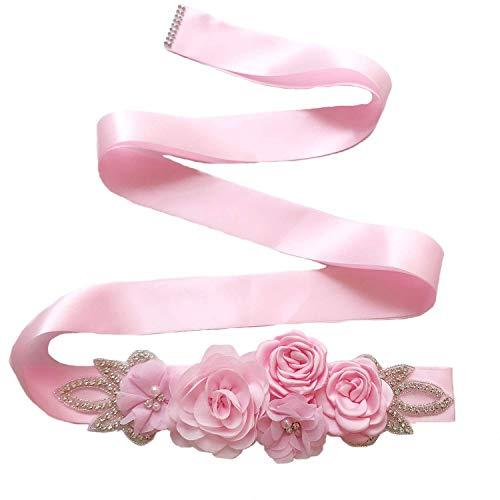 Zaozc Bridal Wedding Dress Sash Belt Flowers Belts For Womens With Crystal Bead Pearls Rhinestone (4cm-Pink)