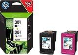 HP 301 Pack de 2 Cartouches d'Encre Noire et Trois Couleurs (cyan, magenta, jaune) Authentiques (N9J72AE)