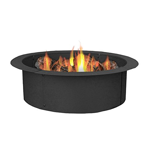 Sunnydaze Fire Pit Ring - 33 Inch Outside x 27 Inch Inside - DIY Campfire Liner - Portable Wood Burning Ring - Above or In-Ground - Durable Steel
