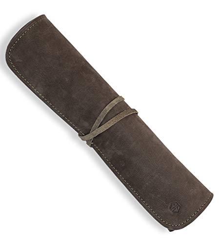 Angus Stoke Funda para cuchillos de chef de piel prémium con rollo de cuchillo de chef grande – Bolsa de cocina Noah (verde oliva)