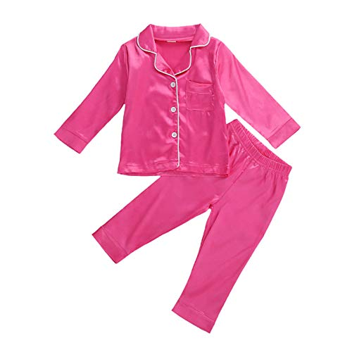 YQYJA 2PCS Ropa de Dormir Niño Conjunto Largo/Manga Corta Botón Solapa Top Pantalones/Pantalones Cortos Pijamas