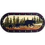 Mayberry Carpet & Rug Cozy Cabin Following Mama Nylon Washable Bear Rug Multi 20' x 44' Oval