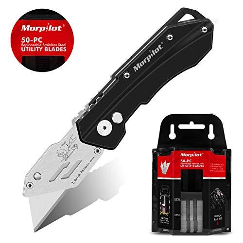Cutter, Morpilot Cuttermesser| Teppichmesser| Universal Klappmesser, mit 50 Ersatzklingen, Rutschfesten Griff, mit Tasten Leicht zum Freigegeben| Sperren