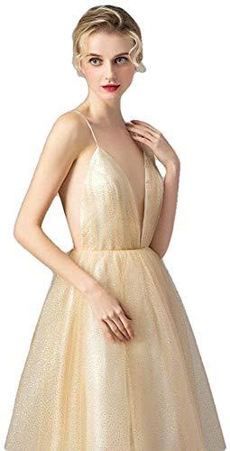 Vestido de Noche Simple, Profundo, con Cuello en V, sin Espalda, Tren de Barrido, Vestidos para Ocasiones Especiales-As_Shown_2, LIFU