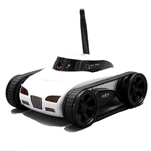 A-Parts Mini RC I Spy Remote Control Tank Car with 0.3 MP Video Camera and 777-270 Wi-Fi, White