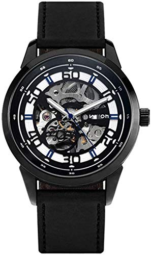 JDHFKS Reloj de hombre con esqueleto de cara para hombre, diseño hueco, negro, automático, mecánico, resistente al agua, 21 cm (color: azul, tamaño: 21 cm)