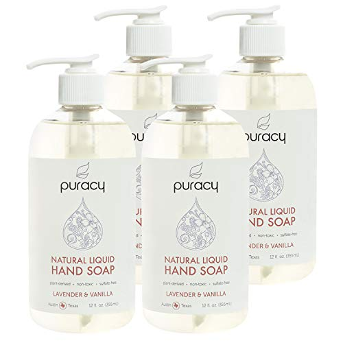 Puracy Natural Liquid Hand Soap, Lavender & Vanilla, Moisturizing Gel Hand Wash, 12 Ounce (4-Pack)