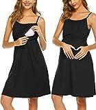 Ekouaer Maternity Nursing Nightgown Cami Double Layers Breastfeeding Sleep Dress Nightie Black S