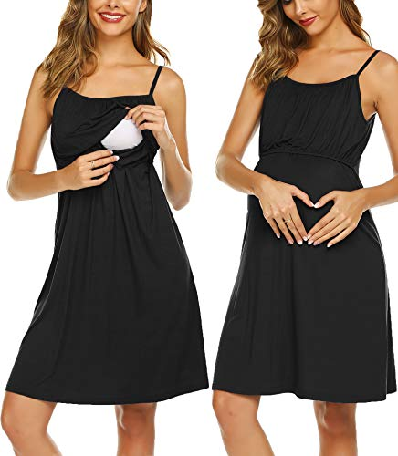Ekouaer Maternity Nightgown Chenise Pregnancy Clothes Solid Sleeveless Nightdress For Women Black L