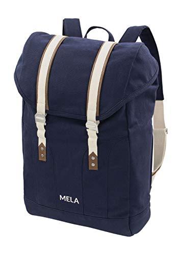 MELAWEAR MELA V Rucksack aus Bio Baumwoll Canvas - Hochwertiger Damen & Herren Tagesrucksack aus 100% nachhaltigen Materialien - GOTS & Fairtrade, Farbe:blau