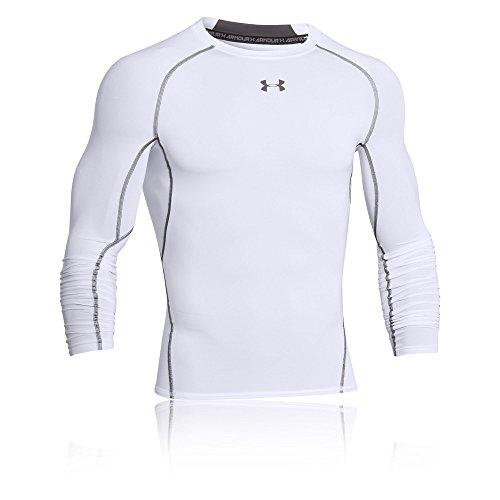Under Armour UA HeatGear Long Sleeve, langärmliges Funktionsshirt, atmungsaktives Langarmshirt für Männer Herren, White / Graphite , M