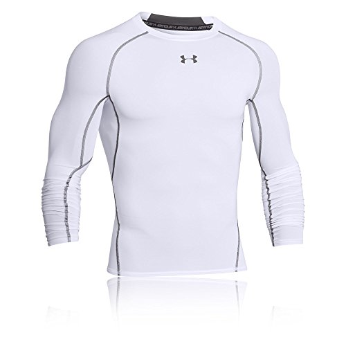 Under Armour Herren UA HeatGear Long Sleeve langärmliges Funktionsshirt, atmungsaktives Langarmshirt für Männer, Weiß, M