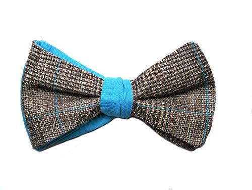 Handgenähte Herren Anzug - Fliege blau/braun/Schleife zum Selbstbinden - Selbstbinder - Querbinder: Turchese diamante