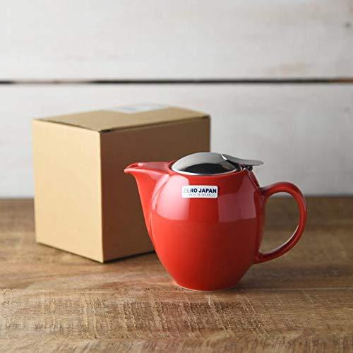 Yamani 72190082 Mino-yaki Japanische Keramik Teekanne Kyusu 350cc mit Edelstahlsieb Zero Japan Serie rot