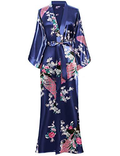BABEYOND Kimono de Seda Vestido de Satén Kimono Pavo Real Novia Pijamas de Seda Bata de Satén (Azul oscuro)