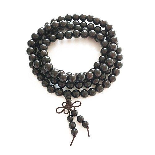 BeneAlways Black Sandal Wood Buddha Beads Bracelet 8mm x 108 for Men & Women (8mm108)
