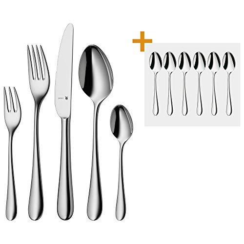 WMF Merit Besteckset, 6 Personen, 36 teilig, 30 Teile mit Espressolöffel, eingesetzte Messerklinge, Cromargan protect Edelstahl poliert, glänzend, kratzbeständig, spülmaschinengeeignet