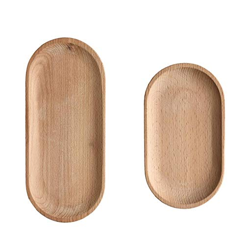 Mini Serving Tray for Jewellery Key Coin Set of 2, Oval Wood Natural Dessert Cup Tray, Small Wooden Cheese Plate, Tableware Decorative Tray