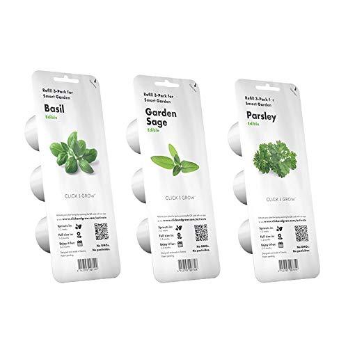 Click & Grow Starter Pack Aromatische Kräuter - Set mit 3 Packungen Kapseln für Smart Garden 3 und Smart Garden 9 C & G: Basilikum, Salbei und Petersilie