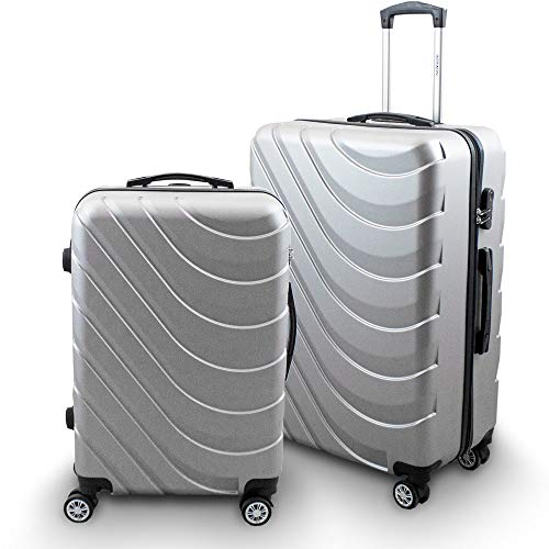 BERWIN® Kofferset L + XL 2-teilig Reisekoffer Trolley Hartschalenkoffer ABS Teleskopgriff Modell Wave 2018 (Silber)