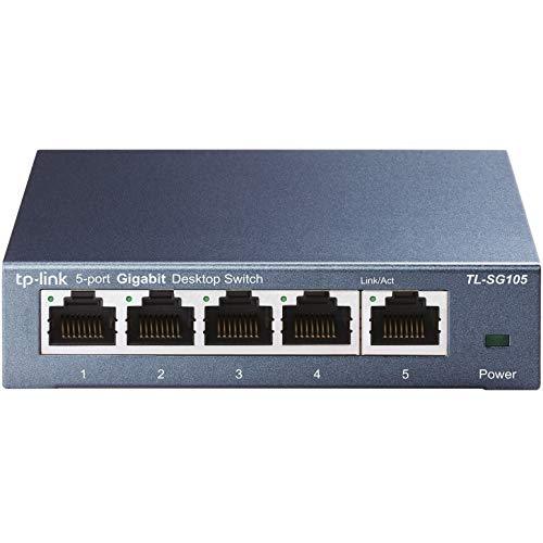 TP-Link Switch Ethernet (TL-SG105) Gigabit 5 RJ45 ports metallique 10/100/1000 Mbps, idéal pour étendre le réseau câblé pour les PME et les bureaux à domicile