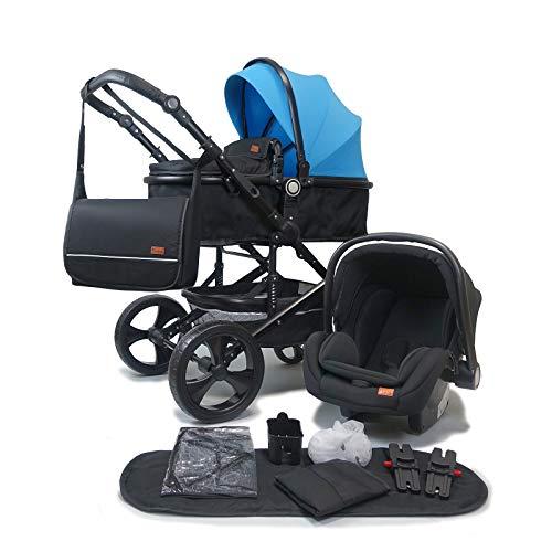 Pixini Kalani Kinderwagen 3 in 1 Komplettset inkl. Babywanne & Buggy & Auto-Babyschale + Wickeltasche/Regenplane/Getränkehalter/Mückennetz in blau/schwarz