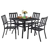 """MFSTUDIO 5 Piece Outdoor Patio Metal Dining Set, 4 Stackable Slat Chairs and Square Dining Table with 1.57"""" Umbrella Hole - Black"""