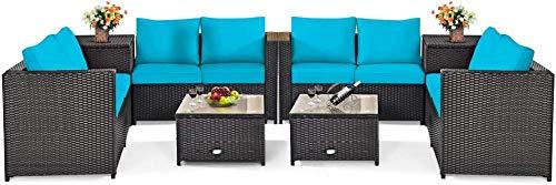 YRRA 4-delad korg uteplats set med förvaring alla väderbeständiga utomhuskonversationsset med loveseat glasskiva soffbord och förvaringslåda lämplig (1 turkos) -2_turkos