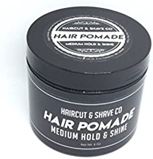 Haircut & Shave Co Hair Pomade for Men - Medium Hold & Shine Hair Styling Paste for all Hair Types - Natural Water-Based Rich in Nourishing Botanical - Alcohol-Free & Easy to Wash