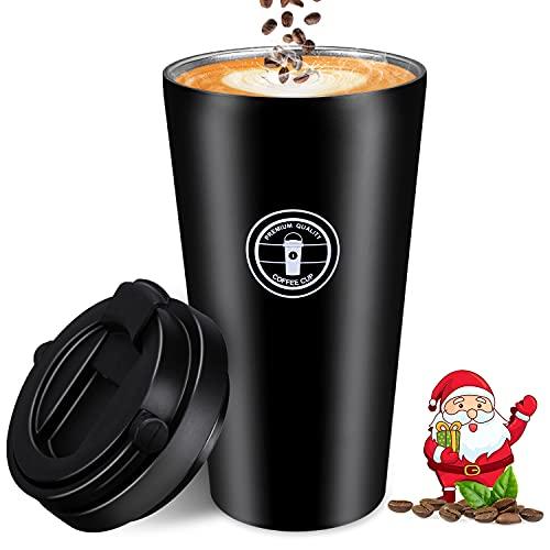 Tazza Termica Caffe, Nisear 500ML Mug Termica a Prova di Perdite con Coperchio, Tazza Viaggio in Acciaio Inossidabile con Cucchiaio e Pennello per Uomo Donne, Nero