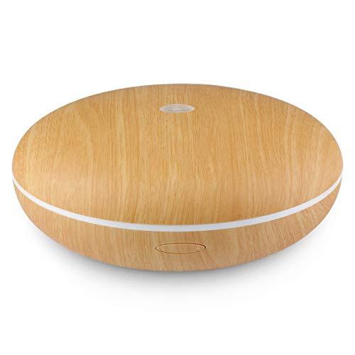 QIYUE Humidificador 350 ml de Madera Ovalada aromaterapia Grano Esencial difusor de aceites, 7-Color de la lámpara y de Agua y Libre de ultrasonidos humidificador Niebla de enfriamiento LED