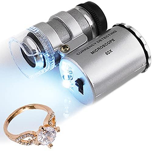 ISO TRADE 60x Lupe Mini Mikroskop + LED Taschenmikroskop Taschenlupe Juwelierlupe Schmuck #430