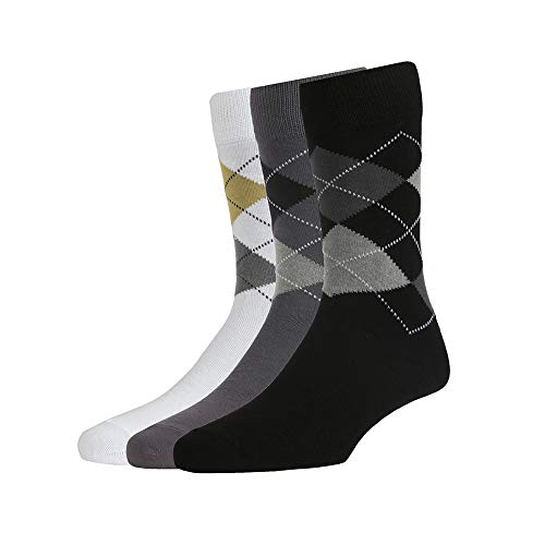 Peter England Men's Cotton, Nylon, Rubber and Spandex Patterned Socks (White, Grey, Black, Free Size) -Pack of 3