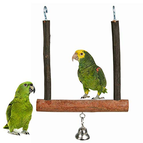 Hzb821zhup hout huisdier vogel papegaai bel kooi opknoping poot spelen kauwen speelgoed papegaai beet speelgoed vogel speelgoed vogel swing frame log swing, Eén maat, Wood Color