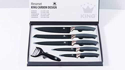 King Messer-Set mit Sparspäler, in Carbon-Optik, Schwarz/Roségold, 6-teilig